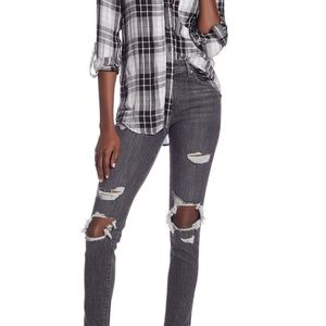 Levi's Grey 721 High Rise Ripped Skinny Jean